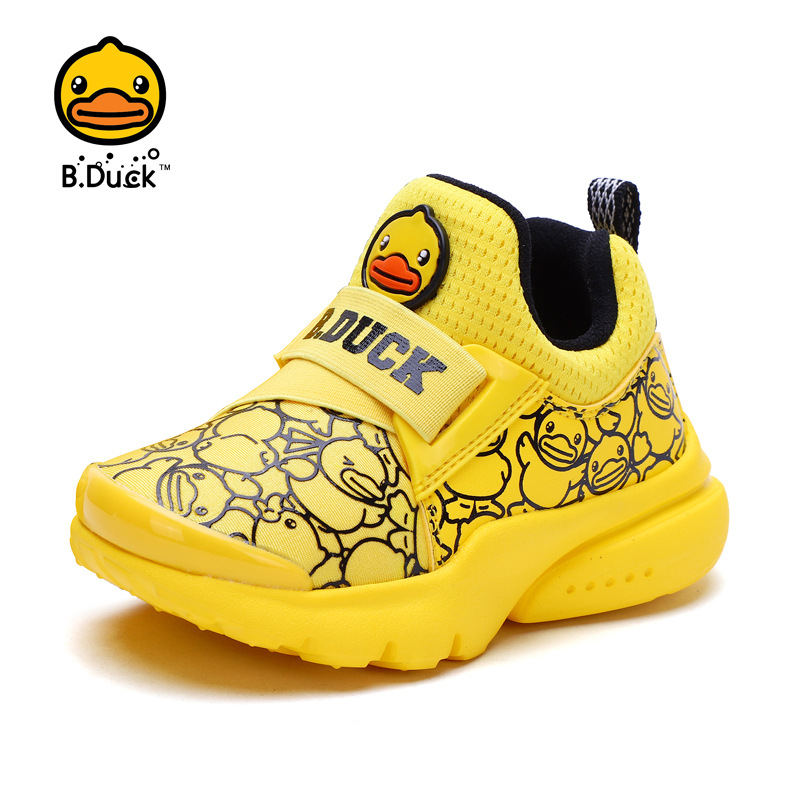 B . Duck brand kids shoes baby boys running breathable sneakers yellow duck tenis school soft sole slip-on sneakers