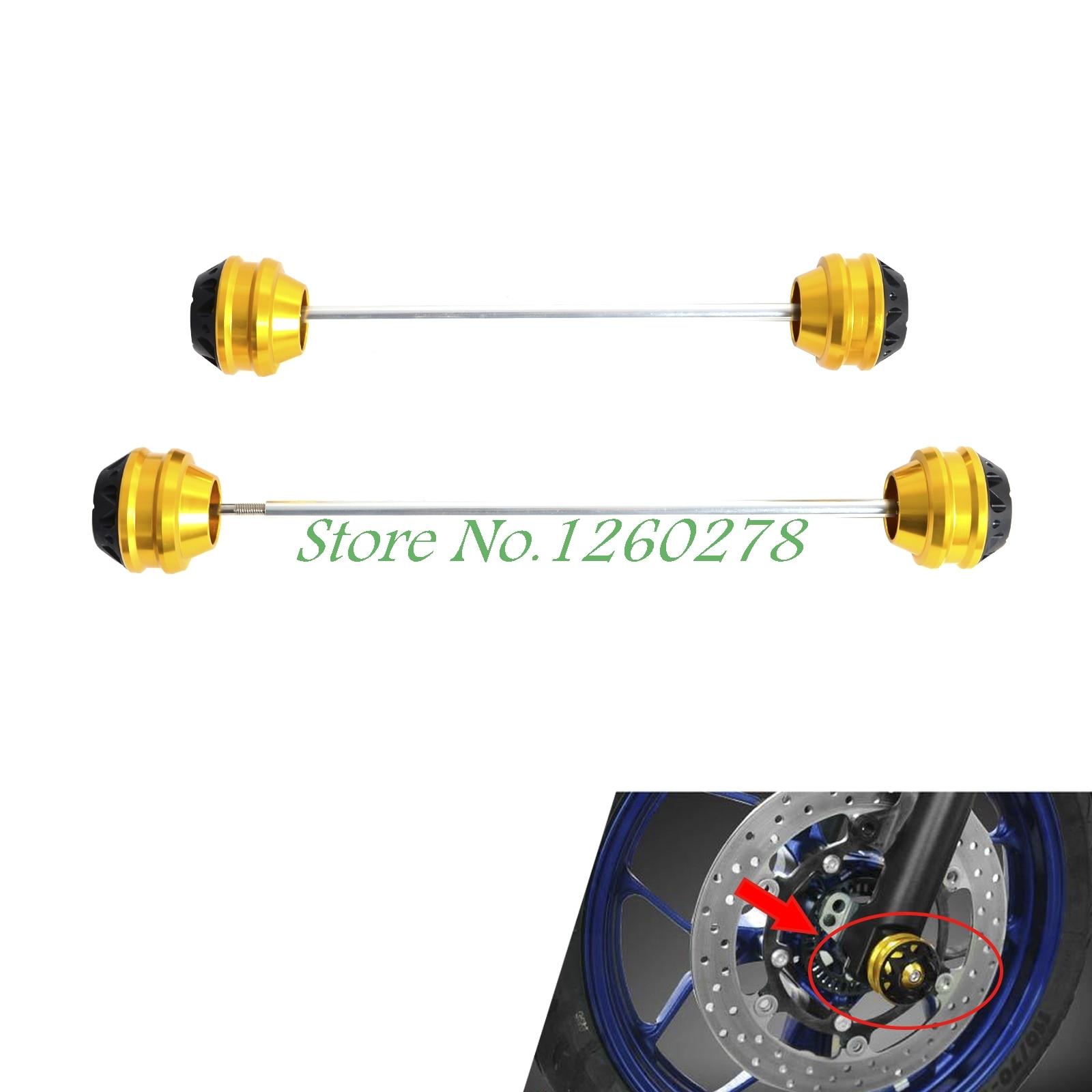 Front &amp; Rear CNC Wheel Axle Fork Crash Protector Slider For Yamaha  MT07 FZ07 2014 2015 2016 MT FZ 07<br>