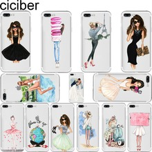ciciber Luxury Fashion Travel Girl shopping Girl Soft Silicone Phone Cases Cover for Iphone 6 6S 7 8 Plus 5S SE X Coque Fundas(China)