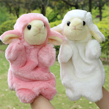 Animal Hand Puppet Soft Plush Puppet Toy Pink/White Sheep Horse Doll Baby Toys Kids Bedtime Story Telling Toy(China)