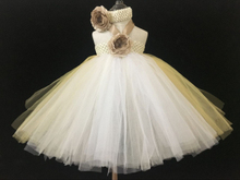 Cute Girls Crochet Flower Long Tutu Dress Kids Handmade Fluffy Tulle Tutus Ball Gown with Headband Children Princess Party Dress