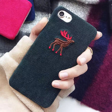 Cute Cartoon Christmas Fashion Embroidery Animal Elk Head Wolf Corduroy Plush Cover For iPhone 7 7plus 6 6s Phone Cases Girls