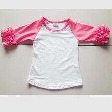 ruffes pink icing shirts top 3/4 raglan icing ruffles t-shirts girl summer half sleeve shirts kids top tunic swing tshirt
