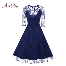 ArtSu Party Ball Gown Dresses Elegant Lace Patch Autumn Sexy Club Midi Dress Robe Sexy See-through vestido de festa ASDR30311(China)