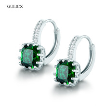 GULICX Fashion Earing for Women  White Gold-color Hoop Earring Princess Clear Crystal Cubic Zirconia Wedding Jewelry E001