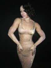 Sexy Celebrate Party Dress Female Singer Performance Big Stretch Long Dresses Shining One-piece Sparkly Bead Rhinestones Dress