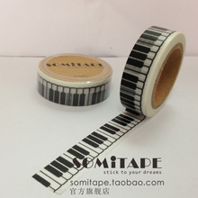 MIX Free shipping Somitape black-and-white piano keyboard paper tape decoration handmade diy tape