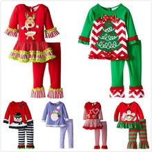 Drop Shipping New arrive girls t-shirt + dress pants Christmas 2 pcs Stripe snowman suit zebra clothing children set  clothes