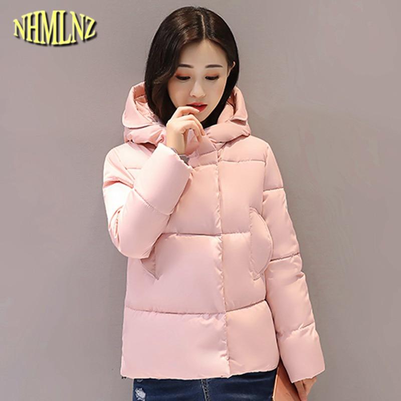 2017 New cotton coat short paragraph Slim Women Warm jacket Fashion Long sleeve Hooded Solid color Women Winter jacket WK042Îäåæäà è àêñåññóàðû<br><br>
