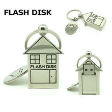 mini metal love house usb flash drive disk keychain memory stick computer gift 4g 8gb 16gb pendrive 32gb Pen drive personalizado