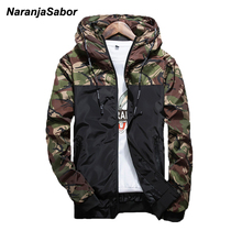 NaranjaSabor 2017 Spring Men's Camouflage Coat Mens Hoodies Casual Jacket Brand Clothing Mens Windbreaker Coats Male Outwear 5XL