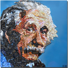 2017 freeEinstein objects and resin on the table Modern Abstract Oil Painting On Canvas Funny Einstein Face print Painting