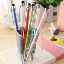 1 PCS Fashion Diamond Ballpoint Pens Stationery 2 in 1 Crystal Stylus Pen Touch Screen Pen Multicolor(China)