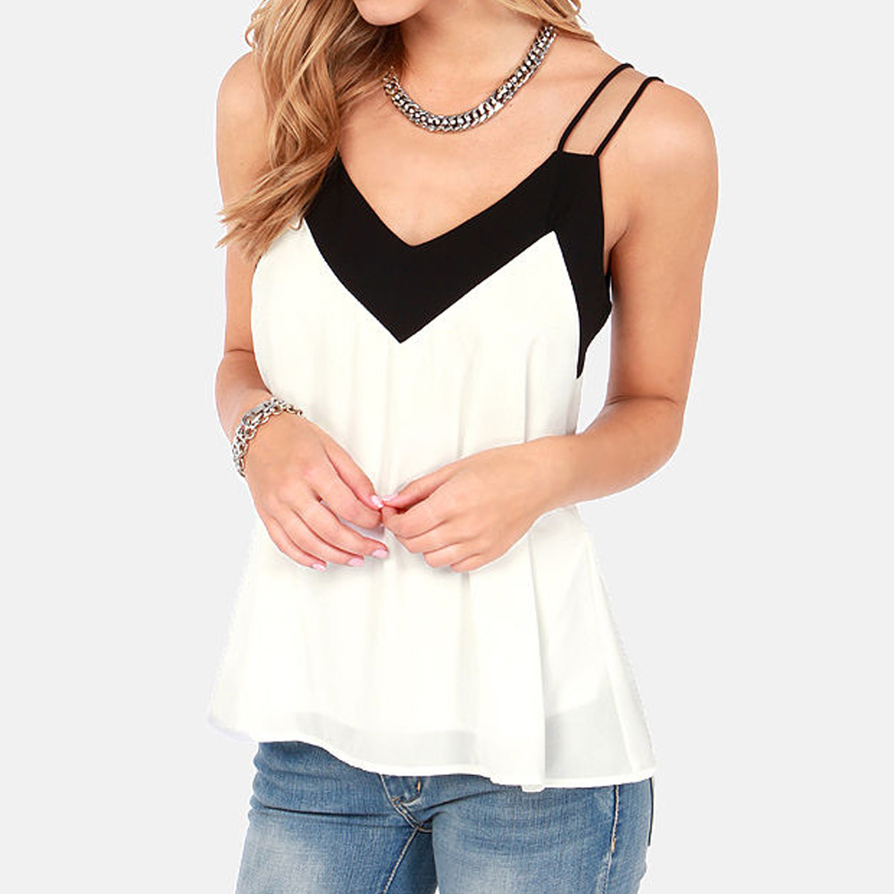 Anself 5XL Plus Size Women Blouse 2017 Sexy V Neck Casual Summer Chiffon Blouse Sleeveless Shirts Backless Tops Blusas Femininas 7