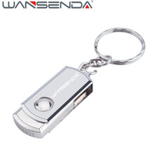 Wansenda USB 2.0 Usb Flash Drive 4/8/16/32/64/128gb Pen drive Portable External Hard Drive metal USB Memory stick with Key Ring