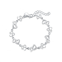 Beautiful gorgeous women bracelet HEART lovely Crystal chain fashion Wedding Party Silver cute lady nice  bracelet jewelry LH007