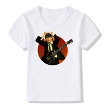 2017 Kids Print AC DC Band Rock T-shirt O-Neck Short Sleeve Boy&Girl Acdc Graphic Heavy Metal Tops Kpop Tee Baby T Shirt HKP408