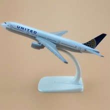 16cm American Air United Airlines Boeing 777 B777 Airways Plane Model Aircraft Airplane Model w Stand Craft Gift(China)