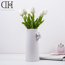 DH Tulip flowers collaboration potted Flowers set Real Touch PU Artificial Bouquet Flowers For wedding decoration fairy garden