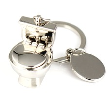 Toilet Model Keychain Creative Funny Like Real Close Stool Key Chain Ring Keyring Keyfob 86067(China)
