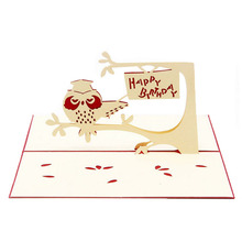 2017 Pop Up 3D Card Owl Symbol Wisdom Happy Birthday Children Day Thank You Christmas MAR10_35