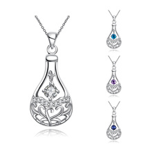 Silver Perfume Bottle Necklaces Feminino Collars Best Friends Elegant Cubic Zirconia Necklace Jewellery Ornamentation Spn086