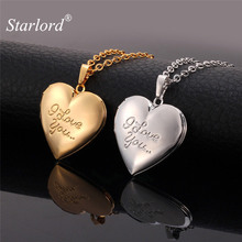 Starlord Heart Memory Locket Women Men Necklaces & Pendants Gold Color Charm I LOVE YOU Photo Floating Locket Necklace P269(China)