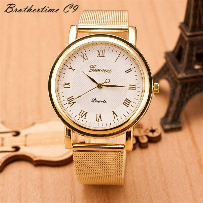 Relojes Mujer Fashion WristWatch Gold Classic Women Dress Watch Geneva Quartz Stainless Steel Watches Montre Relogio Feminino<br><br>Aliexpress