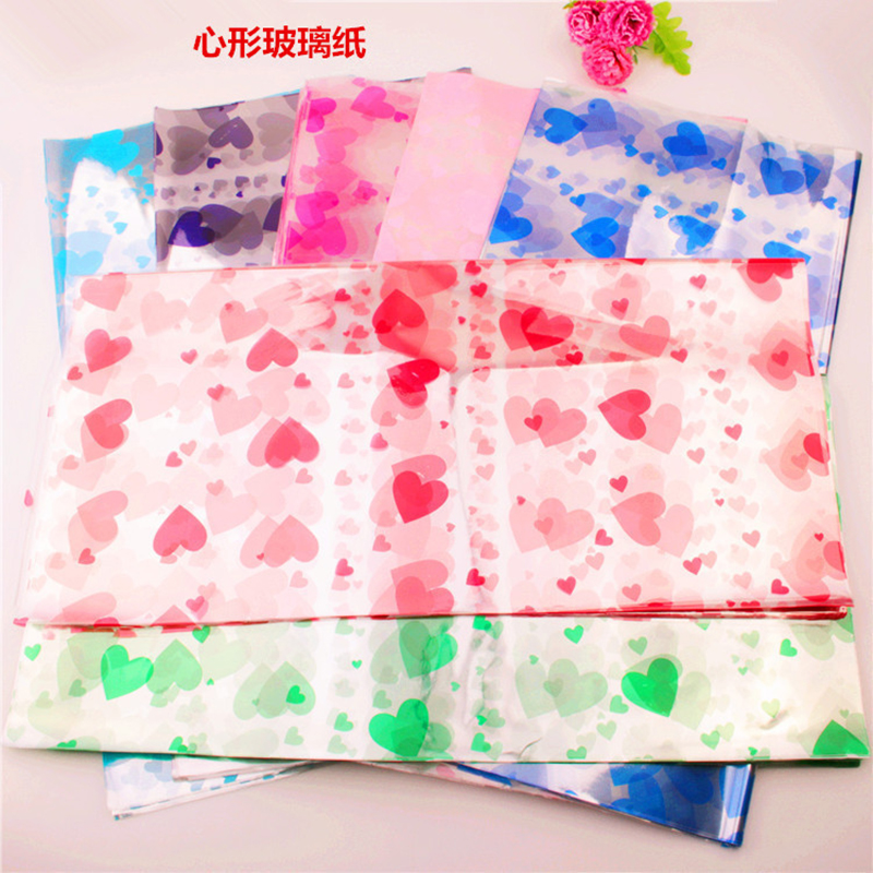 ZLJQ 100pcs Clear Floral Cellophane Wrap Wedding Bouquet Paper DIY Party Gifts Paper Decoration Handmade Paper 8D