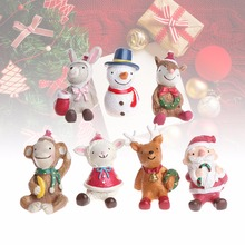 Santa Claus Snow Man Deer Lamb Monkey Rabbit Christmas Figurine Mini Resin Artware Crafts Ornaments Toy Christmas Decor Gift