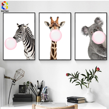 ZeroC Kawaii Bubble Painting of Giraffe Canvas Art Print Poster, Zebra Wall Picture for Living Room Decoration Koala Home decor(China)