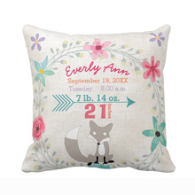 Personalized Birth Stats Baby Girl Woodland Creatures Fox Polyester Cotton Cushion Cover Home Decorative Throw Pillow Case Gift