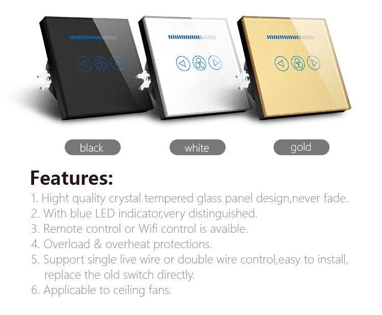 NEU 220V 1//2 Gang Touch Schalter Smart Home Wandschalter Lichtschalter Weiß DE