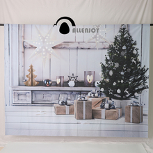 Allenjoy Christmas backdrop white star lantern decoration wooden board presents tree indoor photo background christmas(China)