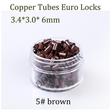 343060 3460 1000pcs Long Euro Lock Flared Flaring Micro Copper Tube Rings Beads Links Human Hair Extensions tools 5# brown(China)