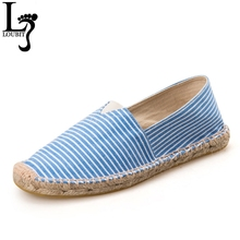 Size 35-42 Casual Women Canvas Flats Shoes Striped 2017 Fashion Espadrilles Slip-On Flat Breathable Summer Canvas Loafers Shoe(China)