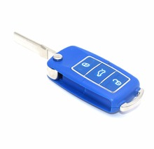 Blue Color 3 Button Uncut Blade Remote Car Key Case for VW Jetta Beetle Car Key Shell Fob Flip Replacement Keyless Car Cover