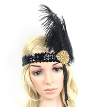 Limit buy Women Ostrich Feather Costume Headband Elastic Sequins Showgirl Headpiece Headwear hair Dress Accessories