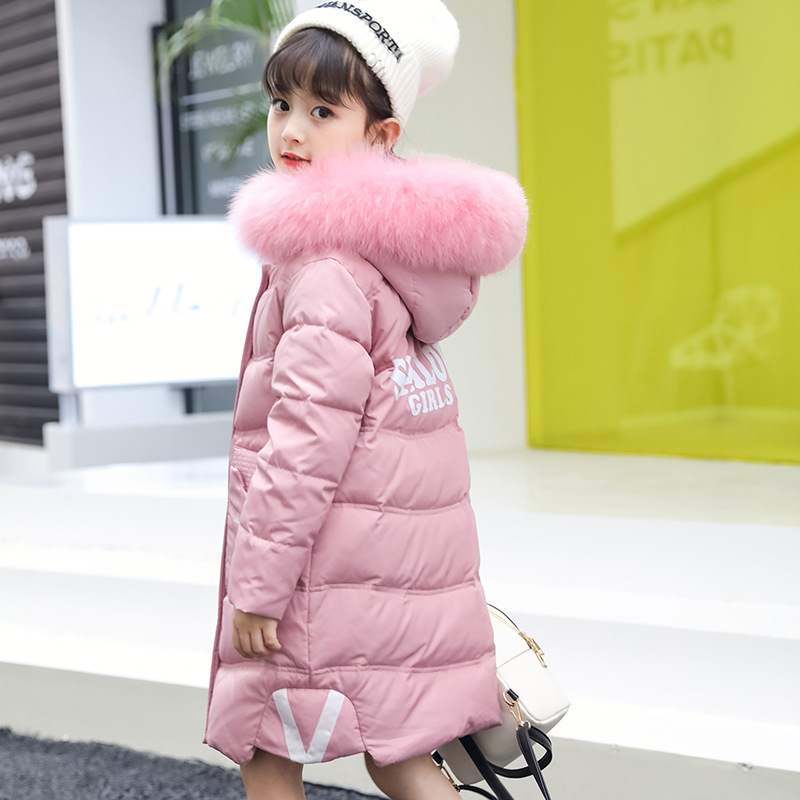 Children Winter Fashion White Down Jacket Girls Long Thick Hooded Raccoon Fur Collar Coats  Kids Can Withstand -30 Degree Dress<br>