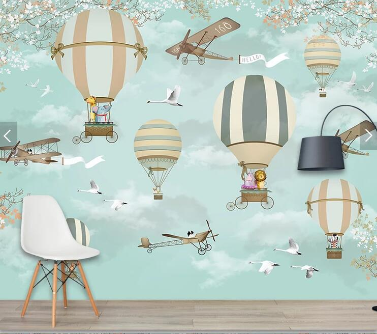 HTB1mkucu7CWBuNjy0Faq6xUlXXaQ - Bacaz Airplane Fire Balloon 3d Cartoon Wallpaper Murals for Kids Room