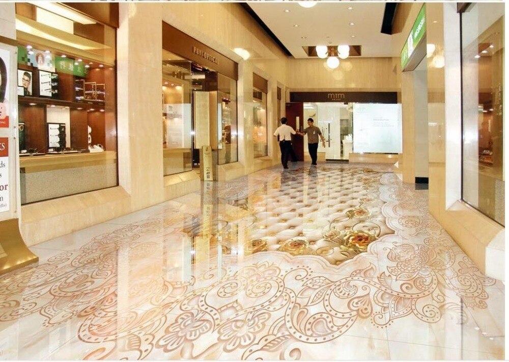 Marbled mosaic tiled floors Waterproof floor mural painting self-adhesive 3D floor wallpapers 3d floor wallpapers<br>