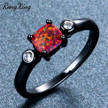 RongXing Square Orange Fire Opal Wedding Rings For Women Vintage Black Gold Filled Birthstone Ring Simple Fashion Jewelry RB1372(China)