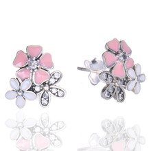 New Arrival 1pair/bag Creative Tremella Earrings Inlaid with Pink cherry tricolor earrings(China)
