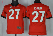 Nike Georgia Bulldogs Nick Chubb 27 College Limited Ice Hockey Jerseys - White Size M,L,XL,2XL,3XL(China)