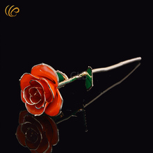 Colorful Gold Rose Valentine's Day Rose Gold Dipped Rose Orange Flower with Gift Box Forever Collection Free Shipping