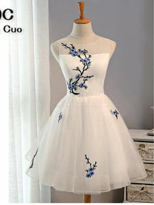 Ball-Gown Homecoming-Dress Short Graduation-Dress White Embroidery Vintage