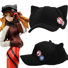 Black Neon Genesis Evangelion EVA Asuka Cat Ears Hat Stuffed Plush Hats Peaked Cap Cosplay Hat for Woman Casquette