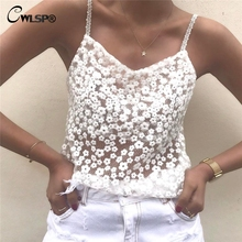 CWLSP Sexy Lace Women White Tank Top Spaghetti Straps Tshirt 2017 Summer tops sought-after womens ladies cami sleeveless QL3191(China)