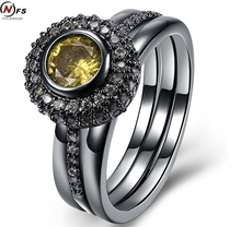 NFS Black Gold Filed Beautiful Big Yellow Stone Ring Black Zircon Crystal Round Rings Wedding Party Engagement Simple Jewelry(China)