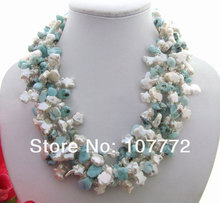 15 mm Keshi Pearl&Larimar&Crystal Necklace